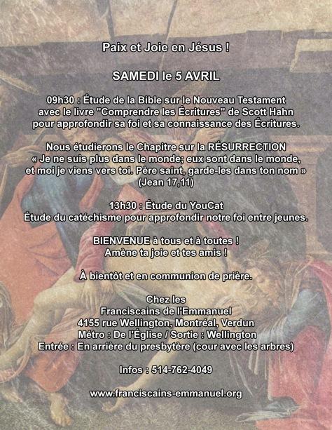Bible et youcat 5 avril