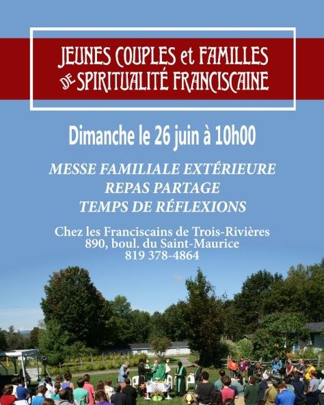 Affiche Jeunes Familles Mauricie 26 juin 2016 messe extérieure