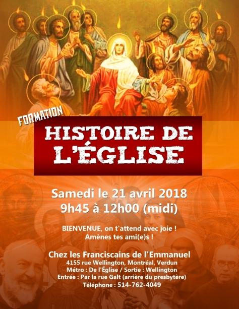 Affiche Hist de l'Eglise 21 avril 2018