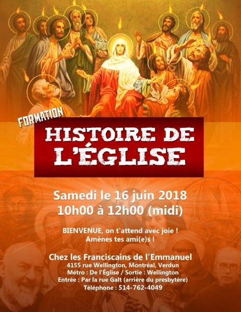 Affiche Hist de l'Eglise 16 juin 2018