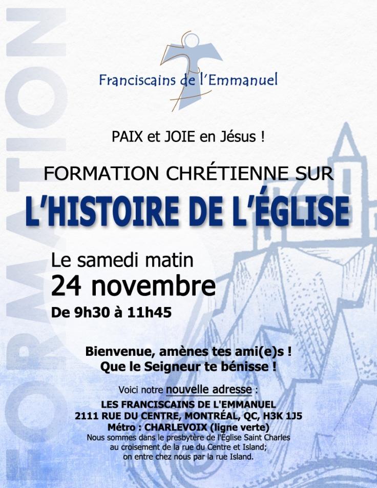 Formation Histoire de l'Église 24 Nov 2018