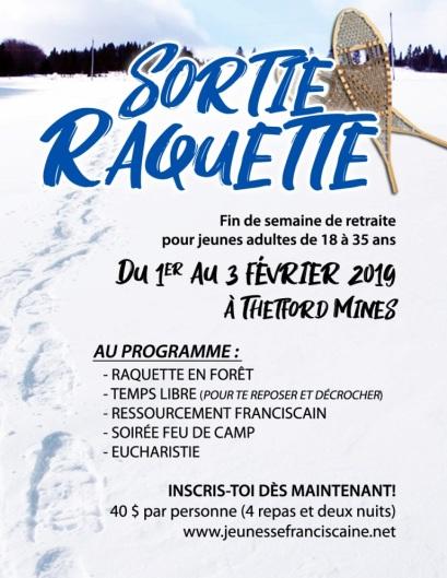 AFFICHE SORTIE RAQUETTE 2019