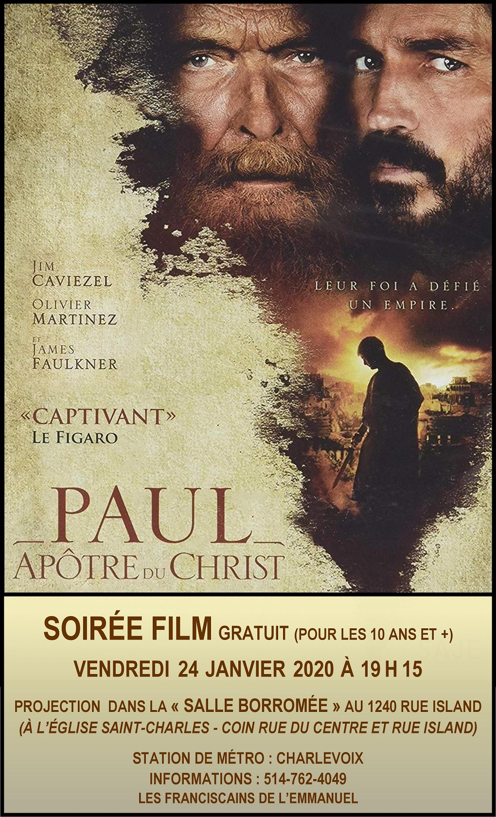 Projection du film « Paul Apôtre du Christ »